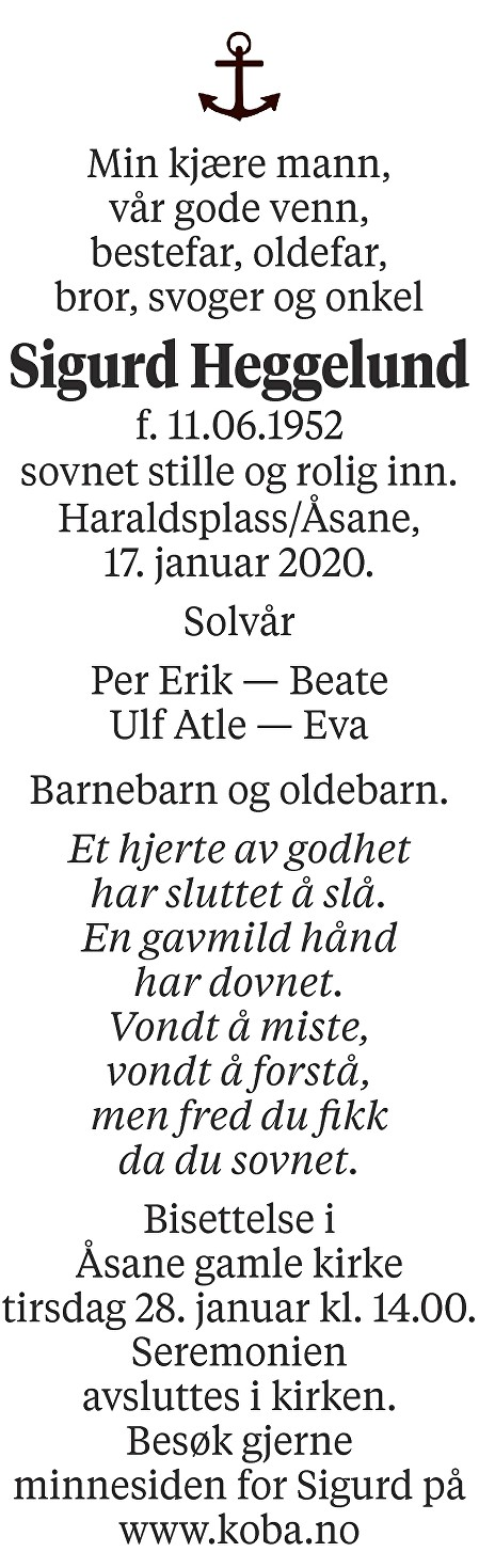 Sigurd Heggelund Dødsannonse