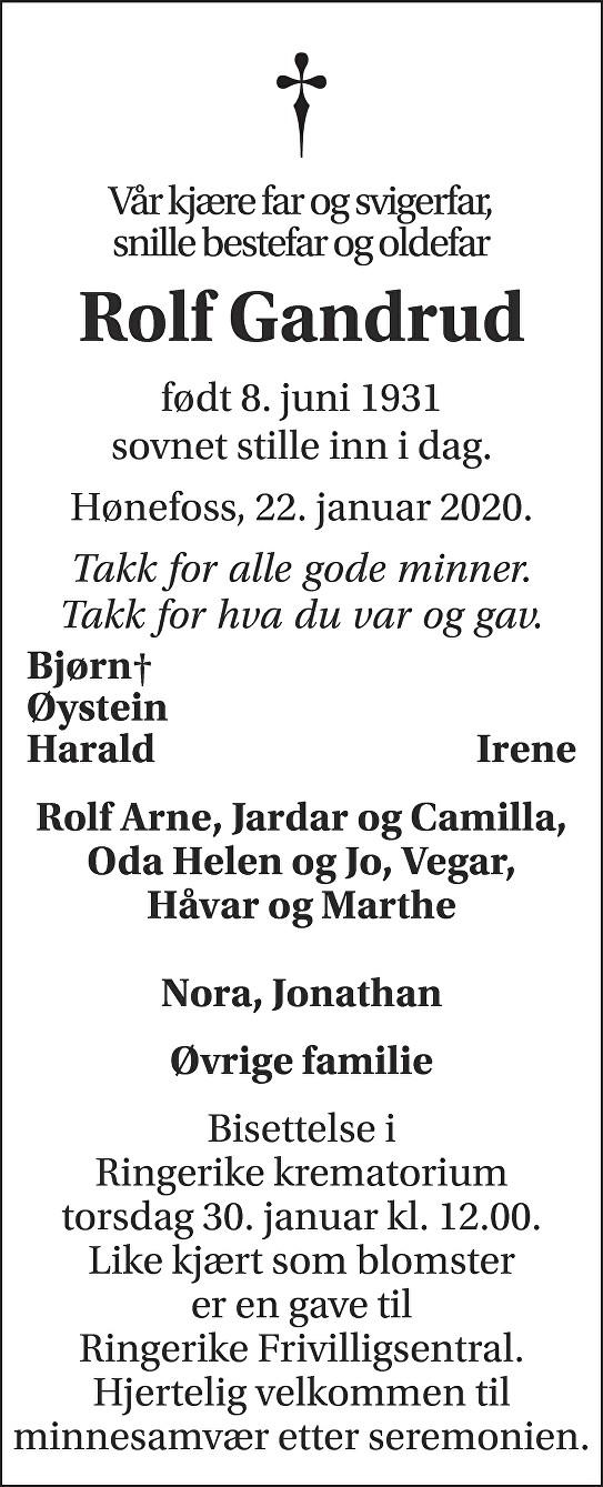 Rolf Gandrud Dødsannonse