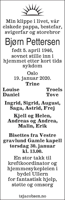 Bjørn Pettersen Dødsannonse