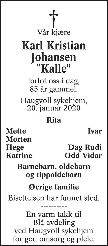 Karl Kristian Johansen Dødsannonse