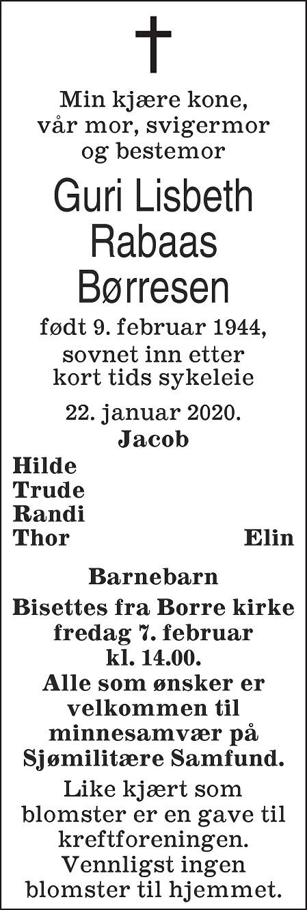 Guri Lisbeth Rabaas Børresen Dødsannonse