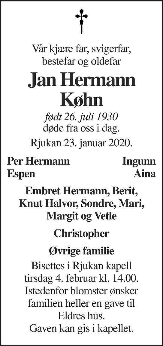 Jan Hermann Køhn Dødsannonse