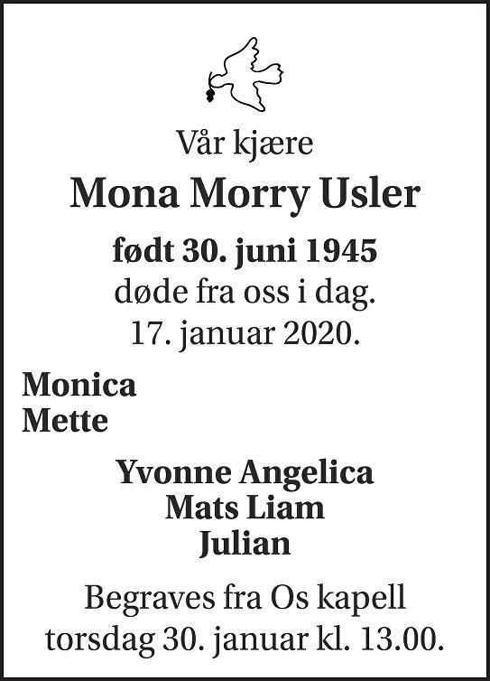 Mona Morry Usler Dødsannonse