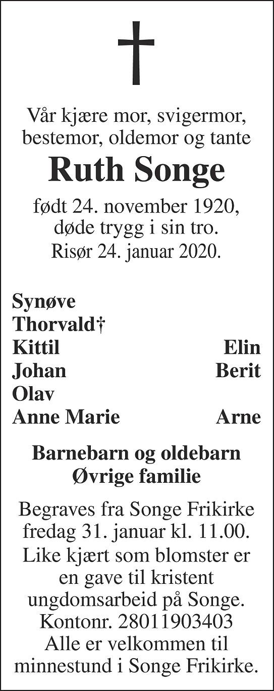 Ruth Songe Dødsannonse