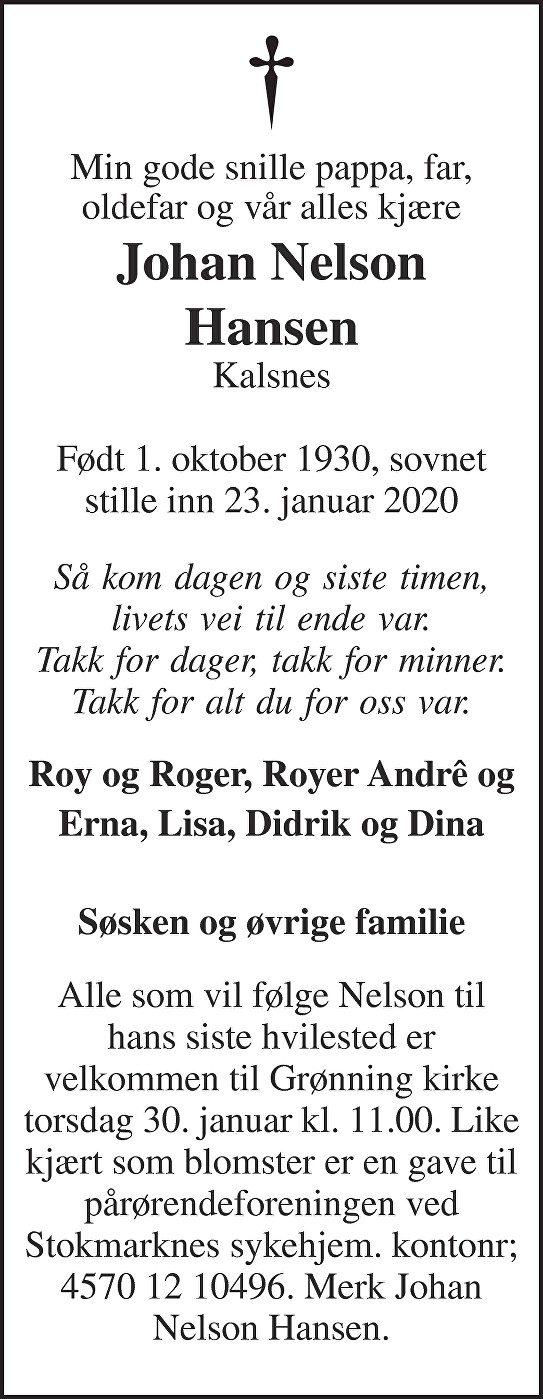 Johan Nelson Hansen Dødsannonse