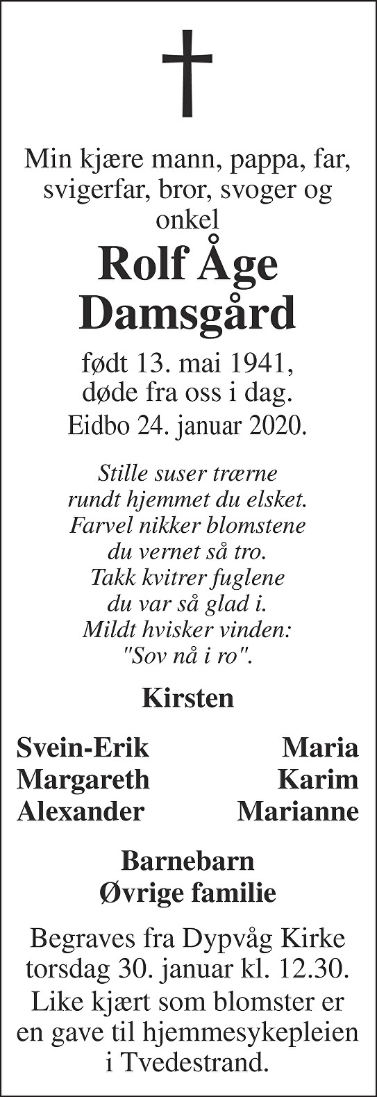 Rolf Åge Damsgård Dødsannonse