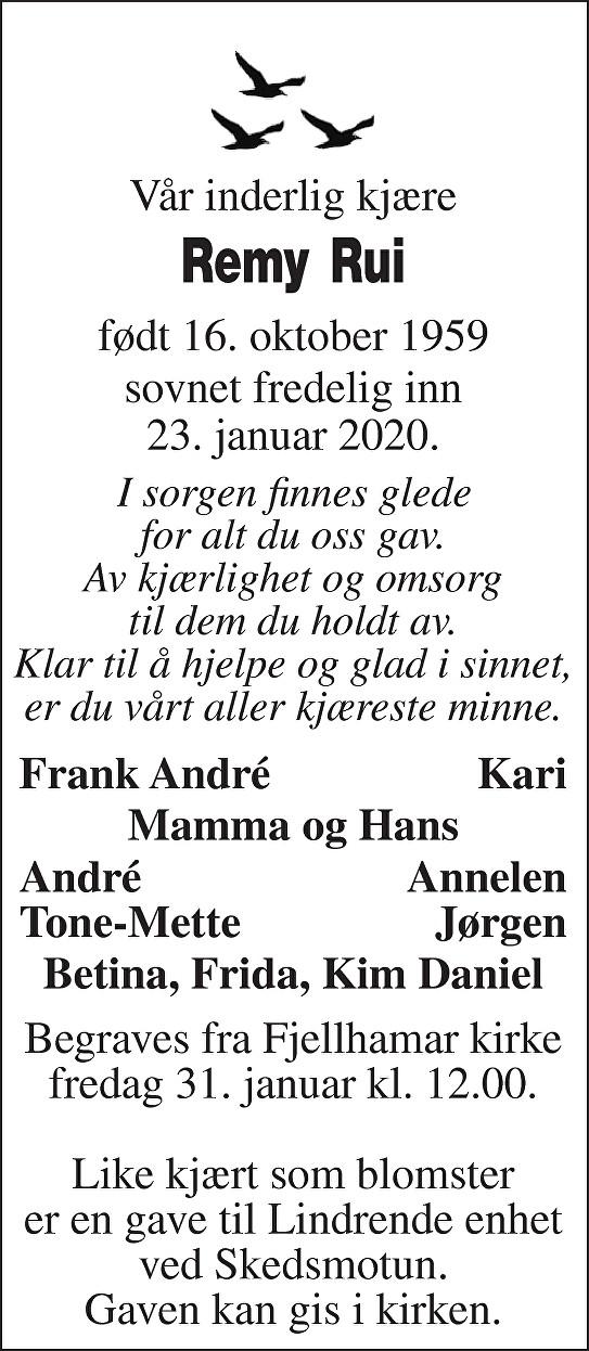 Remy Rui Dødsannonse