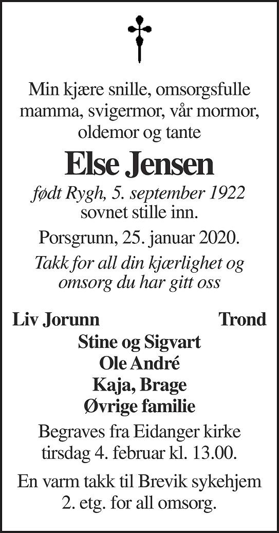 Else Elenora Jensen Dødsannonse