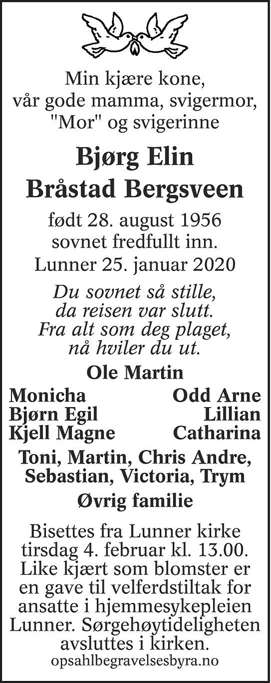 Bjørg Elin Bråstad Bergsveen Dødsannonse