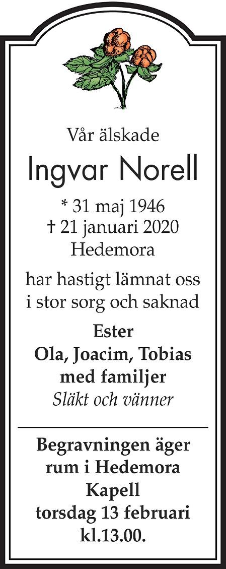 Ingvar Norell Death notice