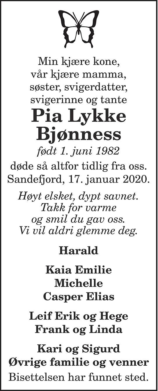 Pia Lykke Bjønness Dødsannonse