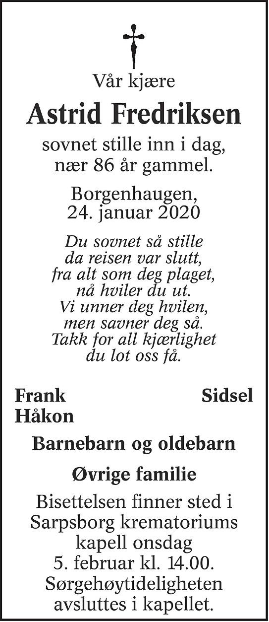 Astrid Helene Fredriksen Dødsannonse