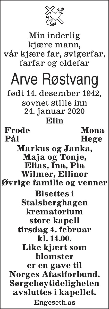 Arve Røstvang Dødsannonse