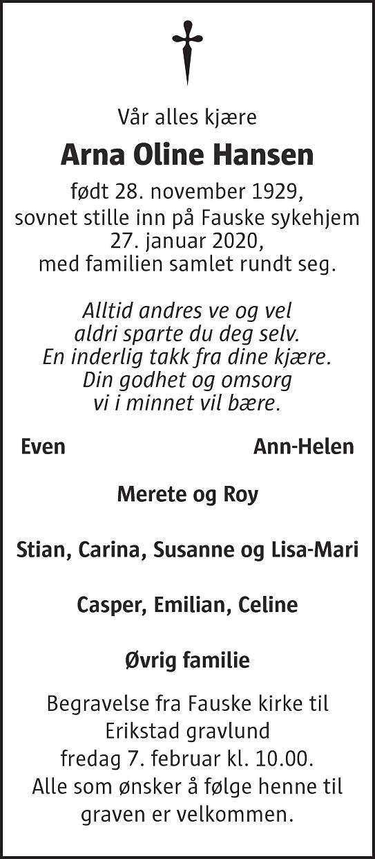 Arna Oline Hansen Dødsannonse