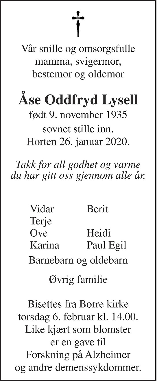 Åse Oddfryd Lysell Dødsannonse