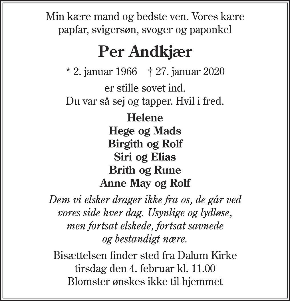 Per  Andkjær Death notice