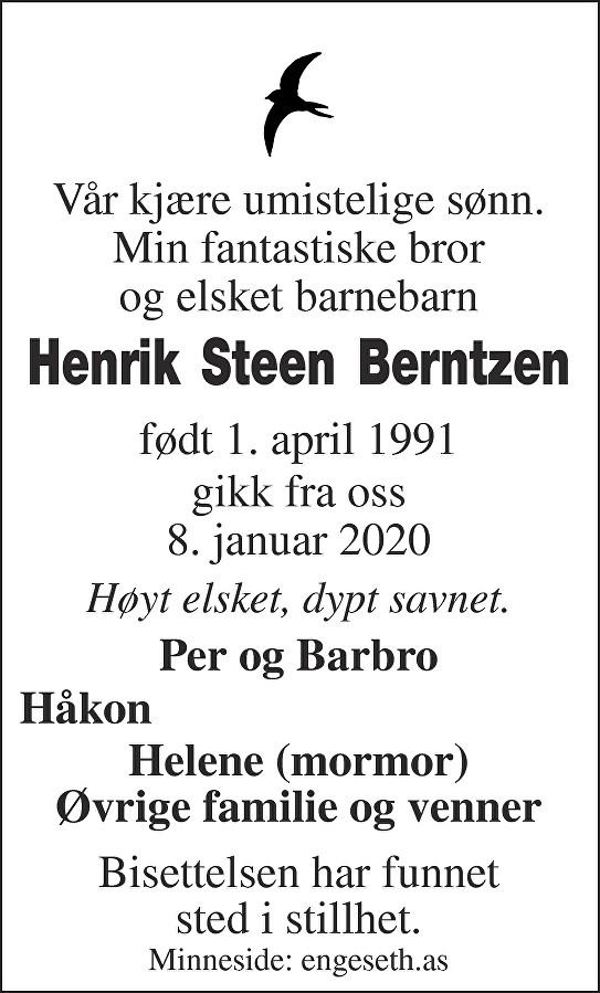 Henrik Steen Berntzen Dødsannonse