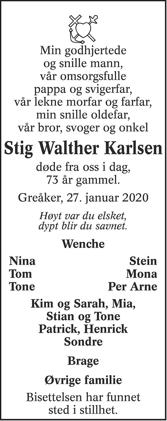 Stig Walther Karlsen Dødsannonse
