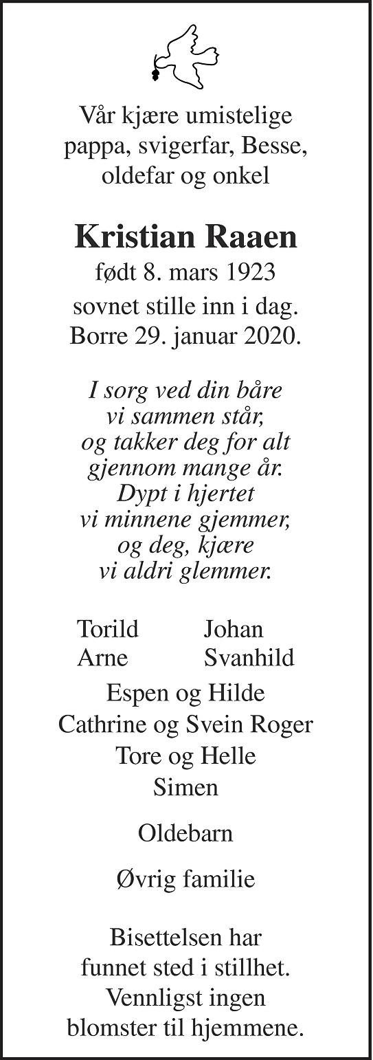 Kristian Raaen Dødsannonse