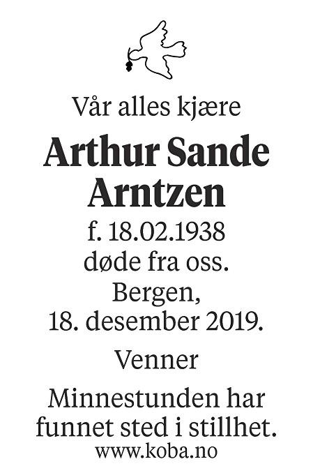 Arthur Sande Arntzen Dødsannonse