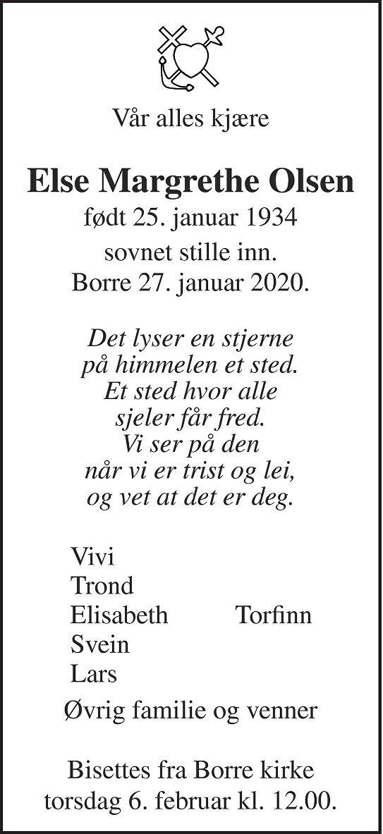 Else Margrethe Olsen Dødsannonse