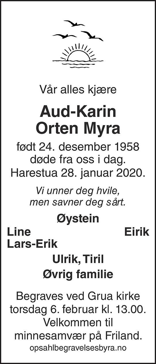 Aud-Karin Orten Myra Dødsannonse