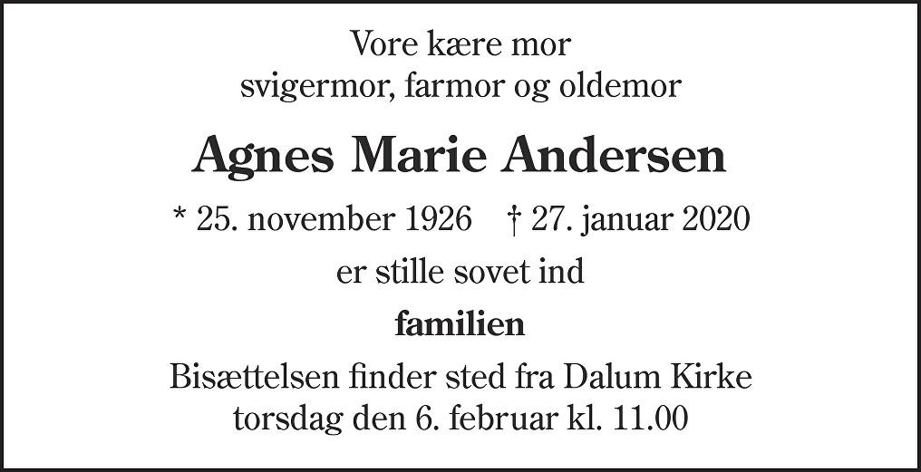 Agnes Marie  Andersen Death notice