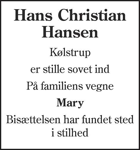 Hans Christian  Hansen Death notice
