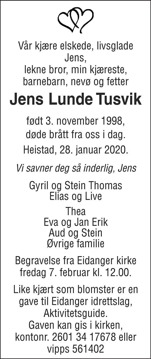 Jens Lunde Tusvik Dødsannonse