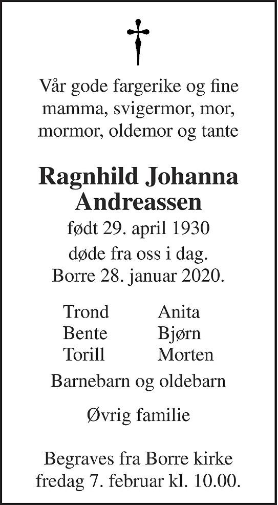 Ragnhild Johanna Andreassen Dødsannonse
