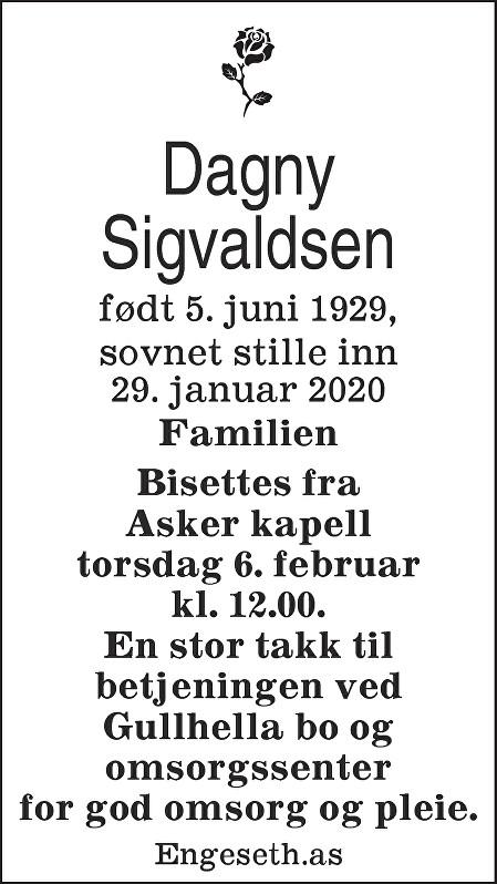 Dagny Sigvaldsen Dødsannonse