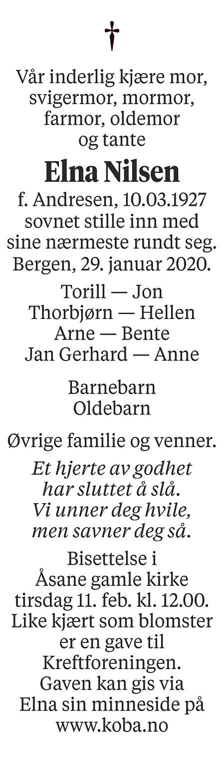 Elna Nilsen Dødsannonse