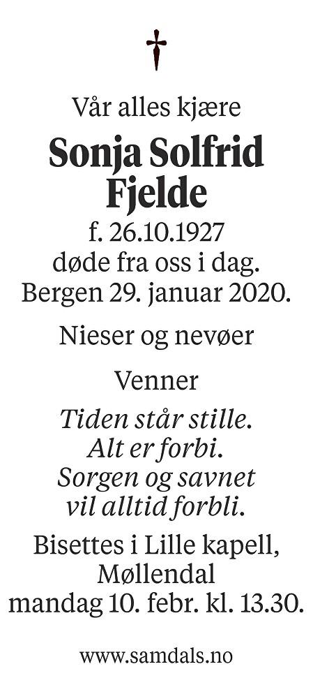 Sonja Solfrid Fjelde Dødsannonse