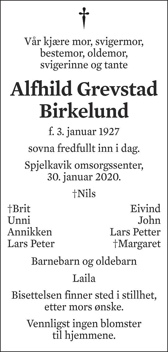 Alfhild Grevstad Birkelund Dødsannonse