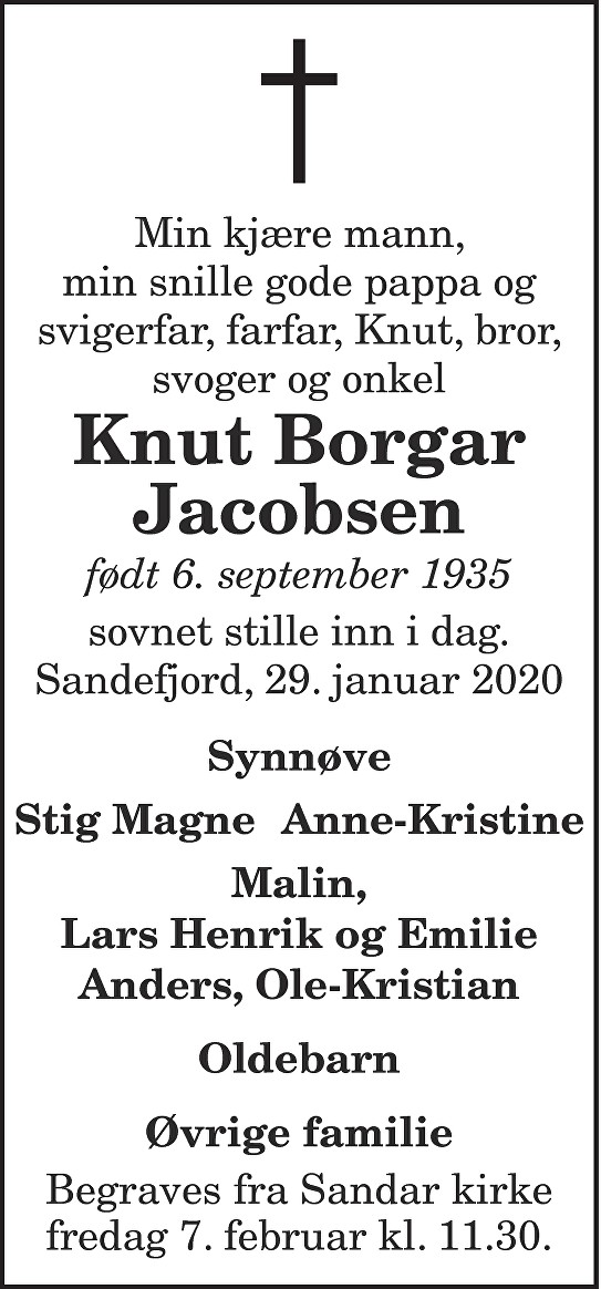 Knut Borgar Jacobsen Dødsannonse