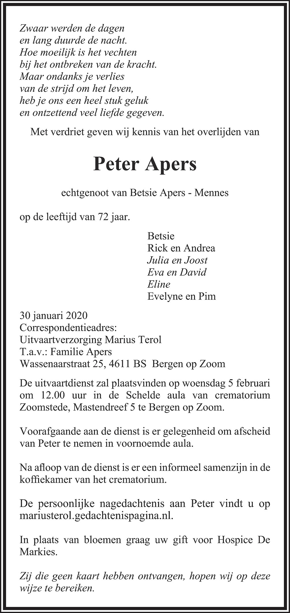 Peter Apers Death notice