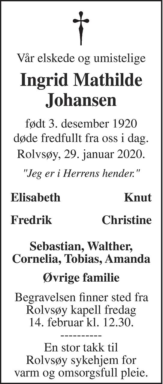 Ingrid Mathilde Johansen Dødsannonse