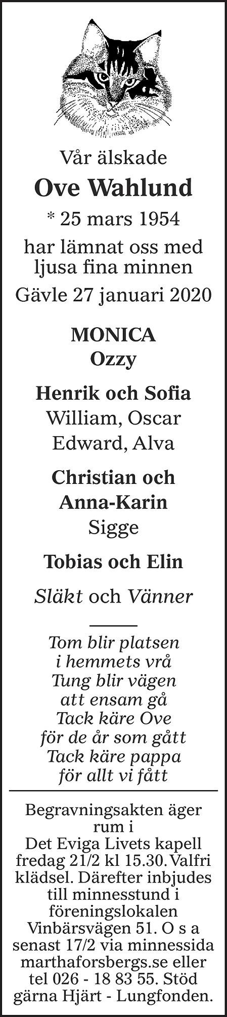 Ove Wahlund Death notice