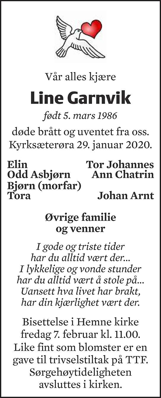 Line Garnvik Dødsannonse