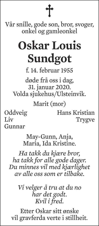 Oskar Louis Sundgot Dødsannonse