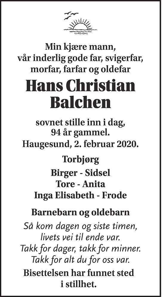 Hans Christian Balchen Dødsannonse