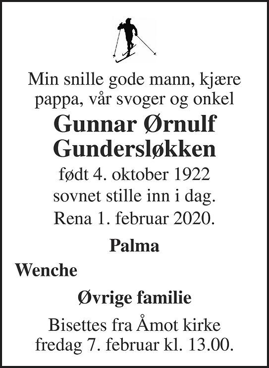 Gunnar Ørnulf Gundersløkken Dødsannonse