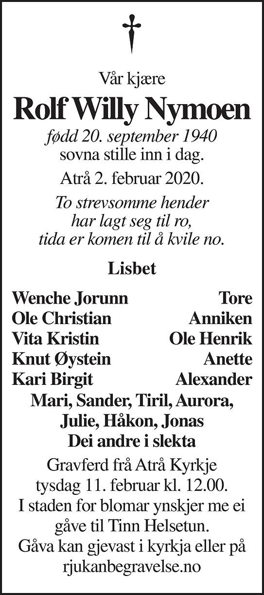 Rolf Villy Nymoen Dødsannonse