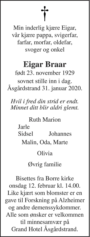 Eigar Braar Dødsannonse