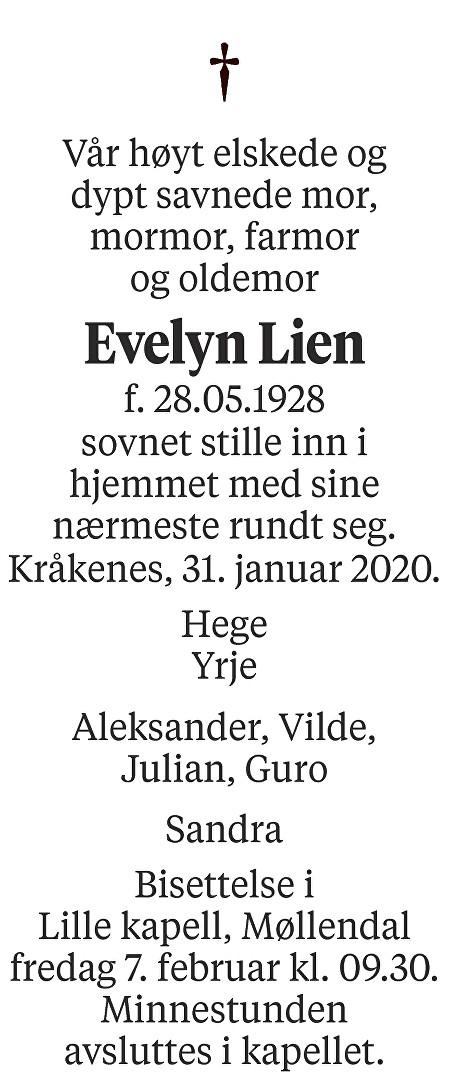 Evelyn  Lien Dødsannonse