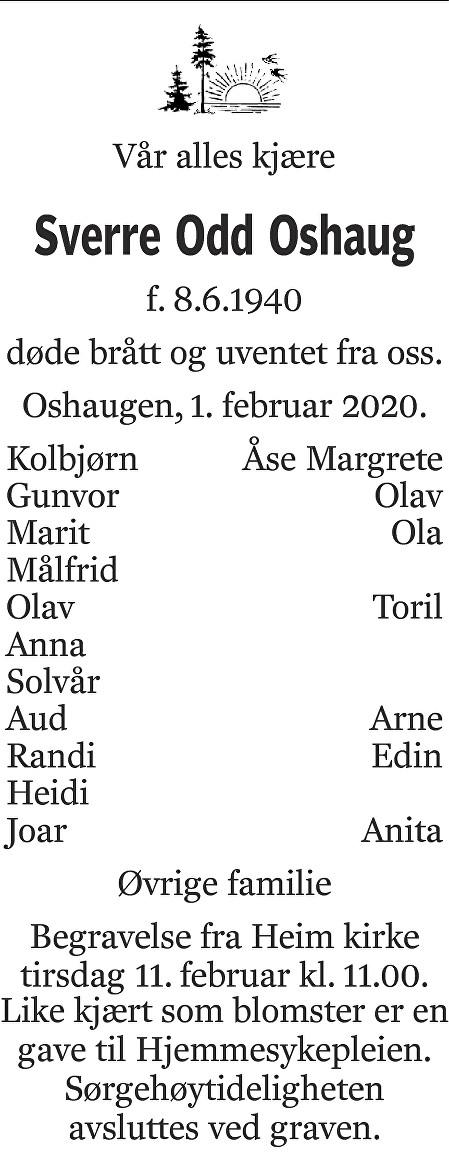 Sverre Odd Oshaug Dødsannonse