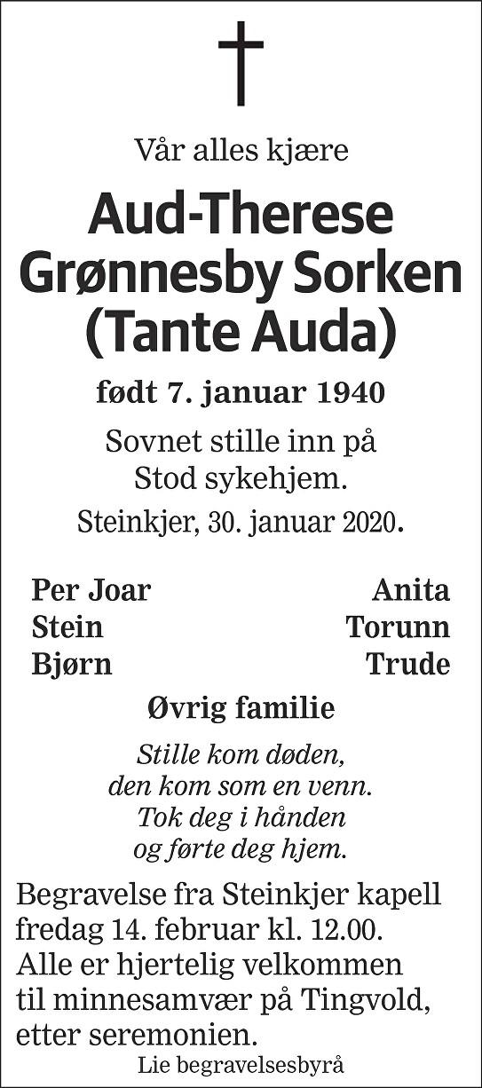 Aud-Therese Grønnesby Sorken Dødsannonse