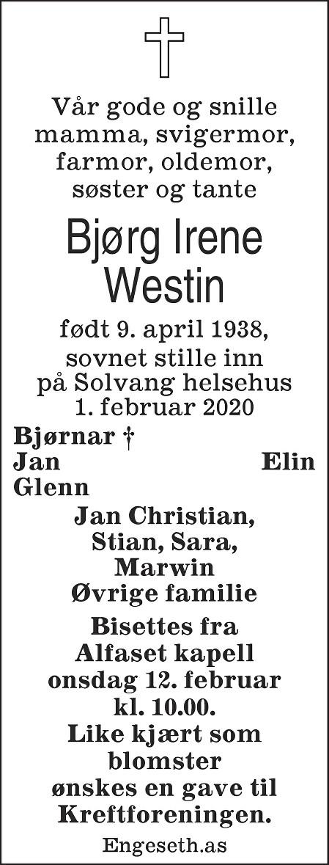 Bjørg Irene Westin Dødsannonse