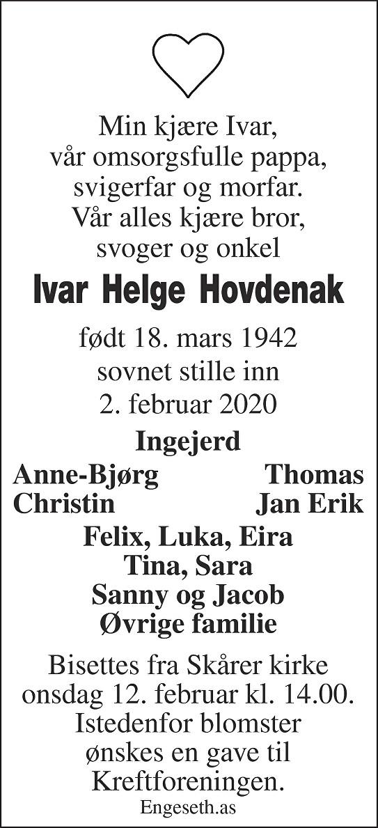 Ivar Helge Hovdenak Dødsannonse