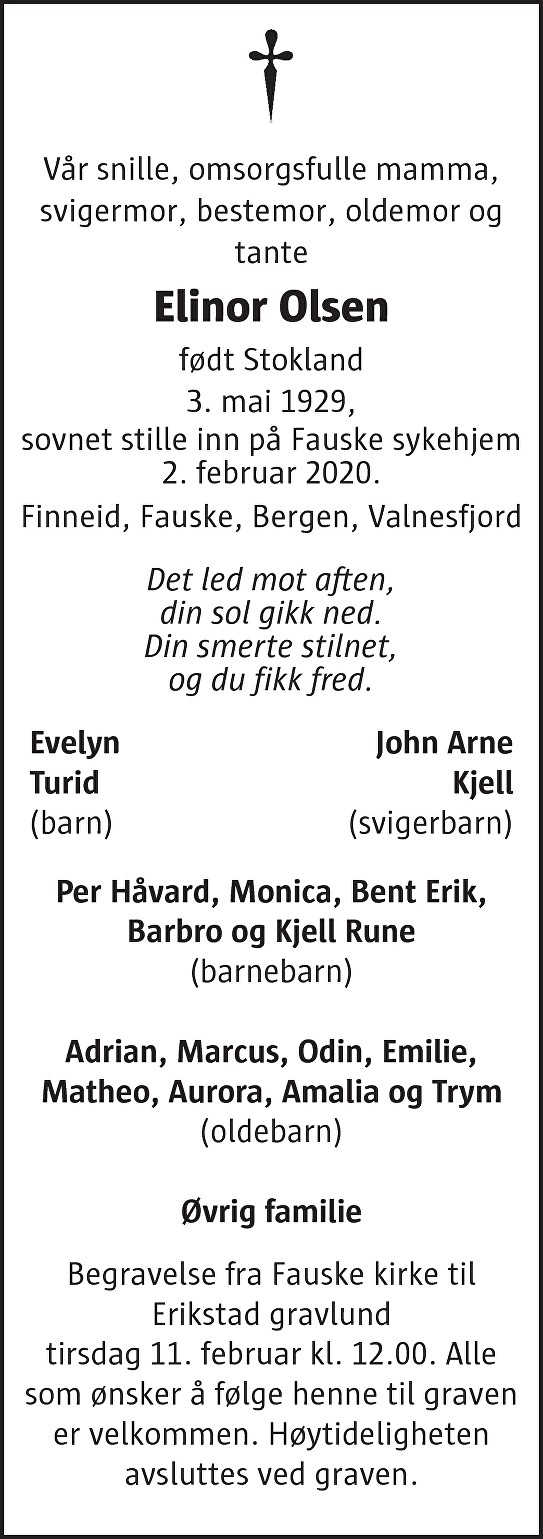 Elinor Olsen Dødsannonse